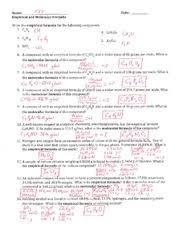 empirical formula molecular formula hydrate key name date
