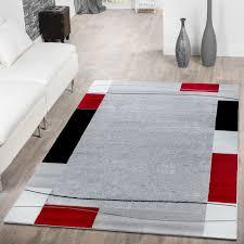 Wohnzimmer Design Rot Teppich Günstig Bordüre Design Modern Wohnzimmerteppich Grau
