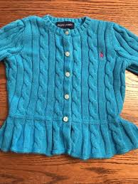 polo ralph lauren toddler girls size 3t turquoise cardigan