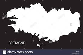 World Map Simple Vector by Bretagne France Map Black Inverted Silhouette Illustration Stock
