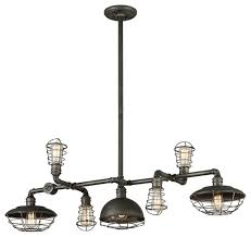 Industrial Pendant Lights For Kitchen by Troy Lighting F3819 Conduit 7 Light Industrial Linear Chandelier