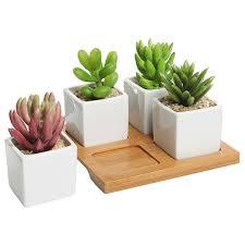 set of 3 decorative modern white square flower succulent planters