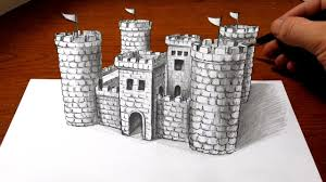 drawing a castle 3d art optical illusion youtube