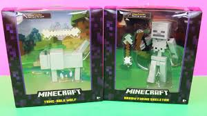 new large minecraft toys the skeleton and the wolf unboxing