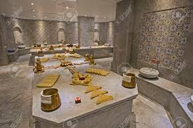2016 interior of large turkish bath hammam in luxury health spa