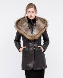 adelyna leather coat with fur trim rudsak coat dejavu nyc