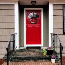 Modern Wood Door Decorations Simple House With Iron Balustrade Also Red Wood Door