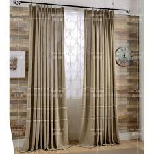 Burlap Grommet Curtains Coffee Patterned Embroidery Burlap Country Bedroom Long Curtains