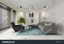 comfortable modern white living room interior stock illustration
