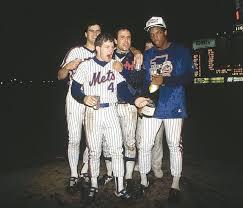 Doc Gooden Ex 1986 Mets - lenny dykstra 4 celebrates with teammates rick aguilera bob ojeda