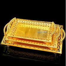 wedding serving trays rectangle metal serving tray storage plate bandeja decorativa for