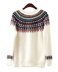 tribal sweater white neck knitted sweater with tribal print detail st0400013