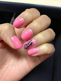 design f r fingern gel pink shellac nails with feather design on ring fingers nails