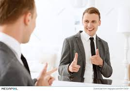 Looking In The Mirror Meme - man looking in mirror and pointing on himself stock photo 54179361