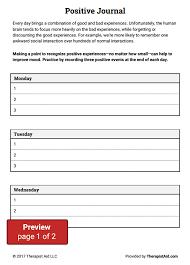 positive journal worksheet therapist aid