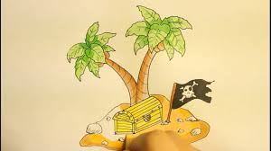 Pom Trees How To Draw A Island With Palm Tree And Treasure Box Easy Step By