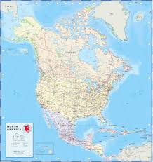 North America Physical Map North America Political Map Wall Mural From Academia North