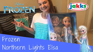 disney frozen northern lights elsa music and light up dress frozen northern lights elsa doll jakks pacific toy review youtube