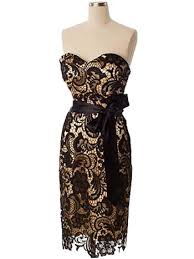retro black lace gold satin strapless cocktail dress party dresses