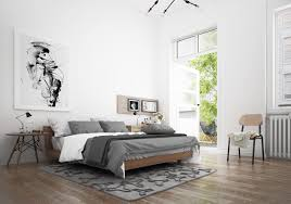 Black And White Interiors by Scandinavian Bedroom Design Dominant With White Color Theme