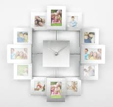 Decorative Metal Wall Clocks Modern Design Photo Frame Clock With 12 Pictures Large Decorative