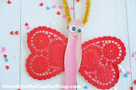 paper heart doily dragonflies kid craft glued to my crafts