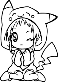 anime pikachu dress coloring page wecoloringpage