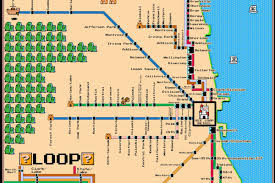 Chicago Maps by Local Comic Designs Super Mario Bros Themed