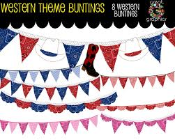 Pretty Bunting Flags Cowboy Bunting Digital Clip Art Bunting Bunting Clipart