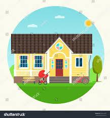 house facade bike bench stroller vector stock vector 601811255