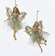glittered platinum ornaments faerie gifts collectibles