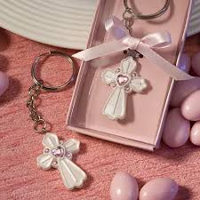 baptism keychain pink cross keychain favour