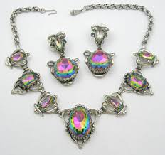 art glass necklace images Schiaparelli rainbow watermelon glass necklace set garden party jpg