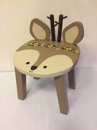 kids animal table and chairs woodland animal stool reindeer deer hand painted wood kids chair