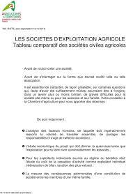 juriste chambre d agriculture les societes d exploitation agricole tableau comparatif des sociétés
