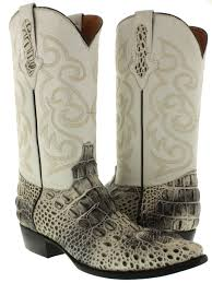 mens crocodile alligator cowboy boots natural leather head cut