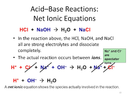 net ionic equation for hydrochloric acid and sodium hydroxide to