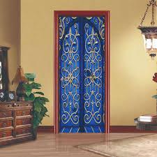 bedroom sliding doors dsu 3d blue retro door creative door sticker home bedroom sliding