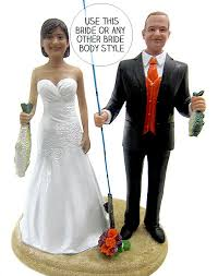 fishing wedding cake toppers custom classic fishing and groom wedding cake topper
