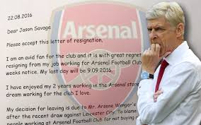 arsenal fans go to town on questionable resignation letter from
