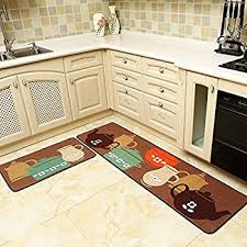 Brown Kitchen Rugs Amazon Com Carvapet 2 Piece Non Slip Kitchen Mat Rubber Backing