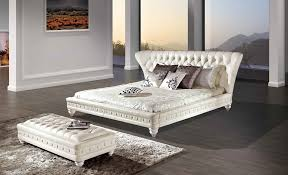 Off White Furniture Bedroom Stylish Off White Leather Platform Bed With Button Tufted Frame