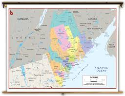 Maine Maps Maine State Political Classroom Map From Academia Maps