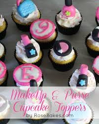 makeup cake toppers make up purse cupcake toppers