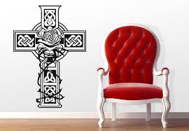 celtic cross wall decal design with a decoration