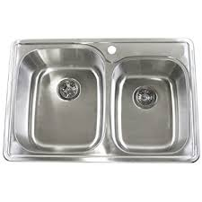 Kraus KTM  Inch Topmount  Double Bowl  Gauge Stainless - Metal kitchen sink