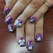 acrylic nails with glitter ombre u0026 3d bows done by nail tech