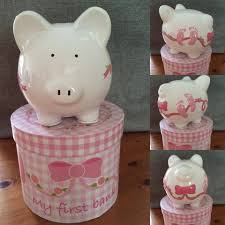customized piggy bank baby girl s my 1st personalised ceramic piggy bank