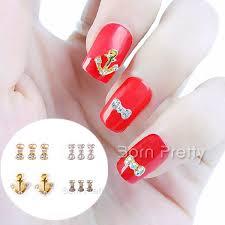 1 99 5pcs rhinestoned anchor bow patterned design stud 3d nail