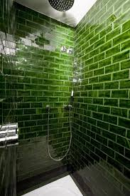 green bathroom tile ideas rich green glass subway tile in the shower decorations
